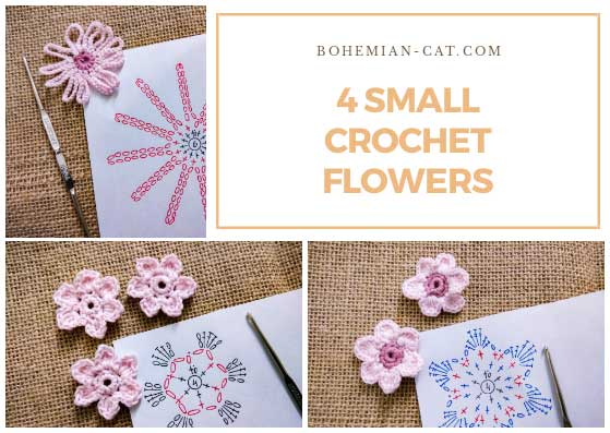 4 small crochet flowers