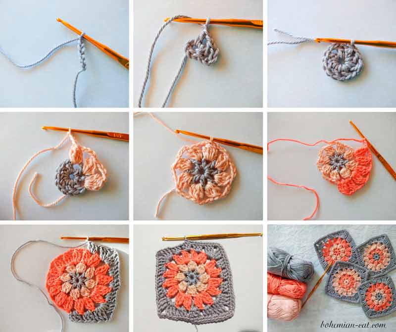 How to crochet granny square step by step instruction