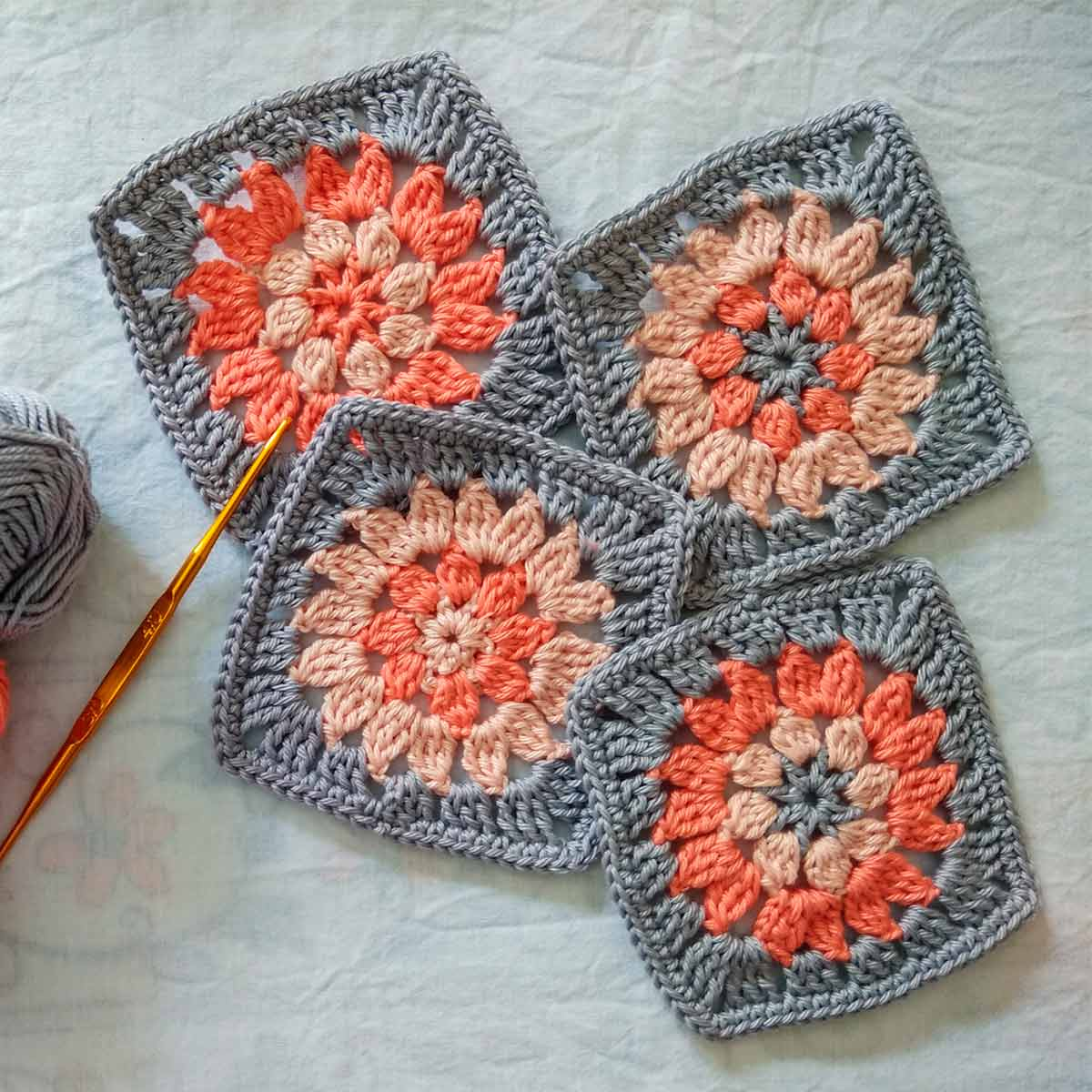 Boho granny square pattern