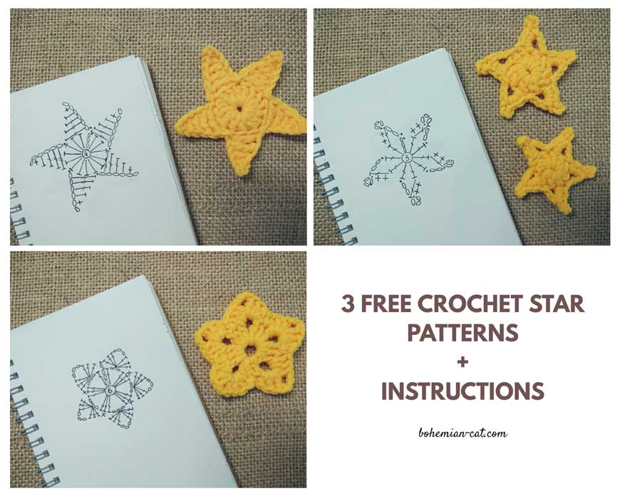 3 Free Crochet Star Applique Patterns