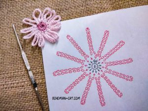 Crochet 12-petal flower