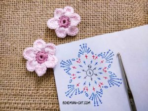 Crochet six-petal flower
