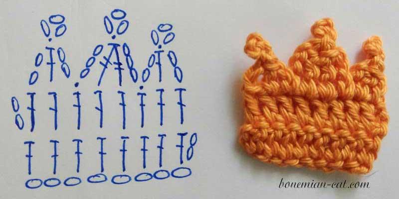 Crochet crown applique pattern 2