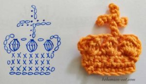 Crochet crown applique pattern 3
