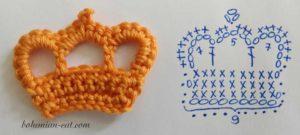 Crochet crown applique pattern 1