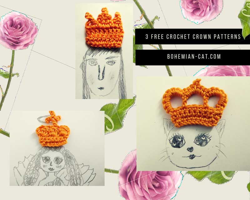 3 Free Crochet Crown Applique Patterns