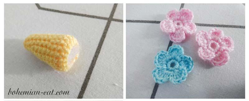 Crochet unicorn keychain details