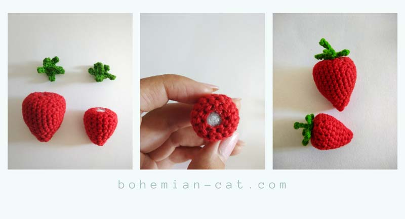 Crochet amigurumi strawberry step by step tutorial