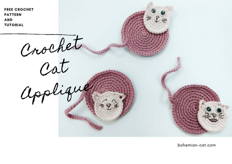 Crochet Cute Cat Applique