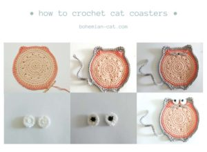 Crochet Cat Coasters Free Tutorial