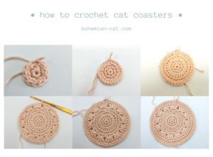 Crochet Cat Coasters Step by Step Tutorial