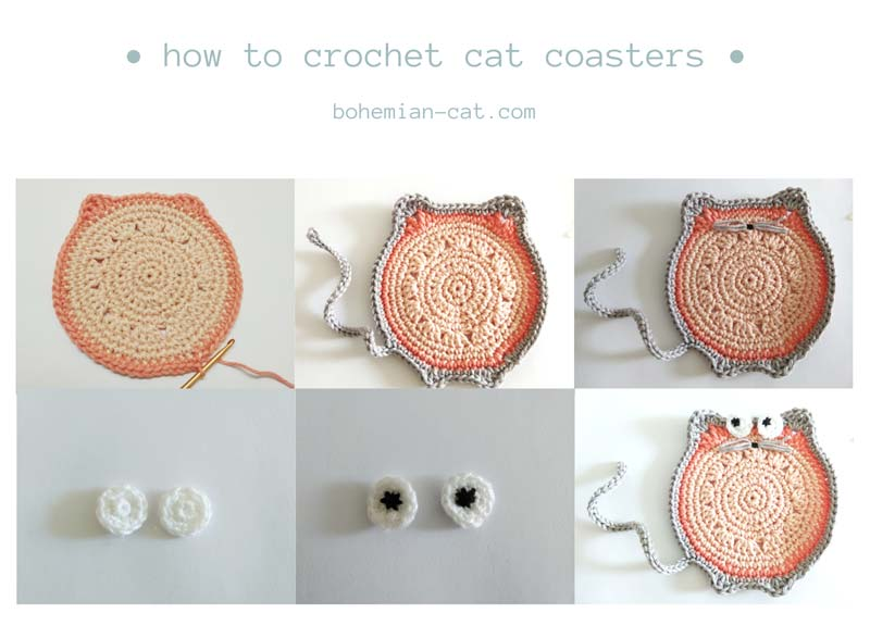 Crochet Cat Coasters Free Tutorial