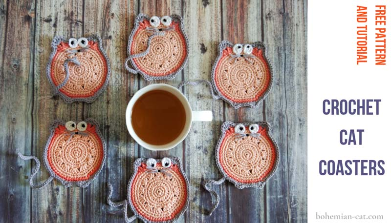 Crochet Cat Coasters