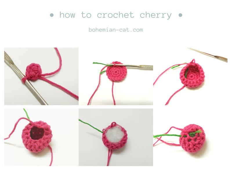 Crochet cherry step by step tutorial