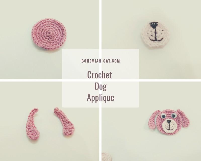 Crochet dog applique step by step
