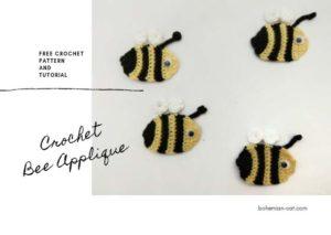 Crochet bee applique