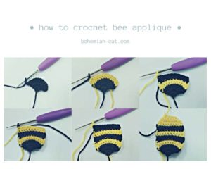Crochet bee applique step by step
