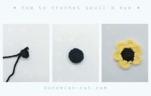 Crochet skull's eyes