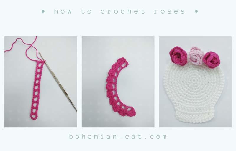 Crochet roses for skull