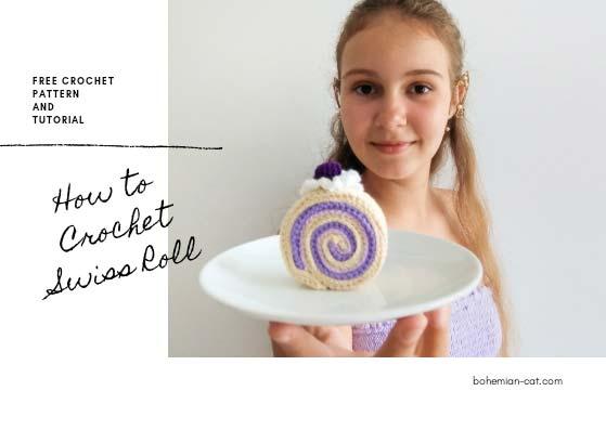Crochet amigurumi cake slice