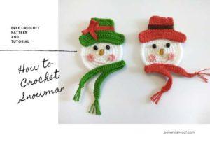 Crochet snowman applique pattern