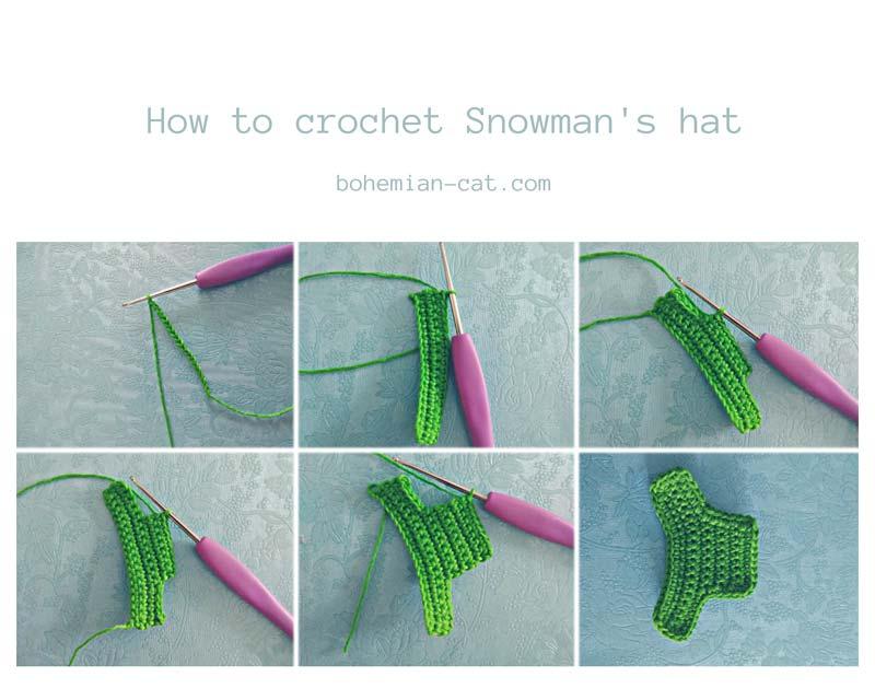 Crochet snowman applique - hat
