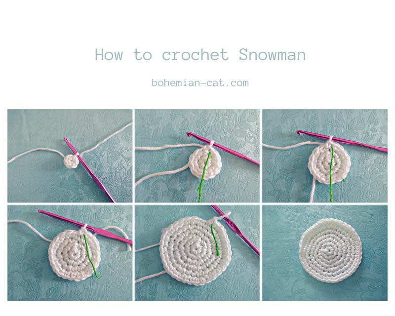 Crochet snowman applique step by step