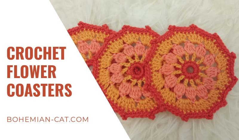 How to crochet flower coasters