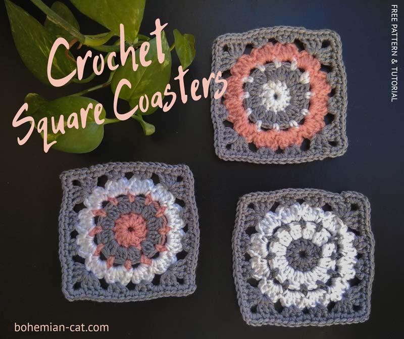 Crochet Cat Coasters | 671x800