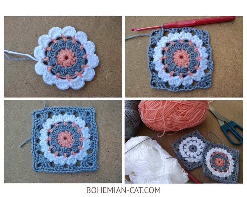 How to crochet a squere coasters 2