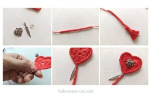 How to decorate heart bookmark