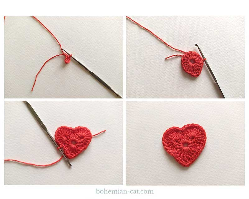How to crochet a heart bookmark