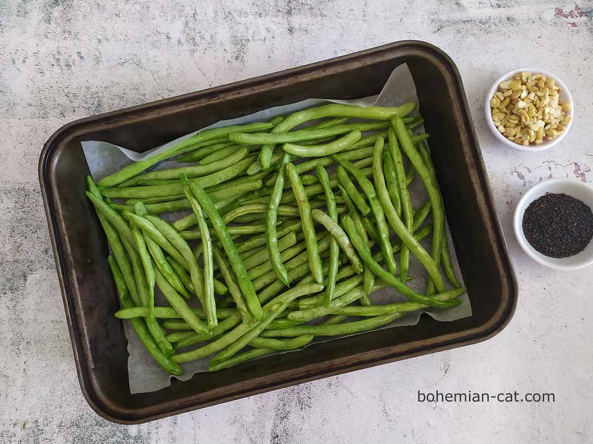 Place the beans on a baking sheet on parchment paper.